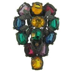 Vintage multicolored rhinestone Dress Clip