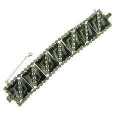 Vintage wide 1960's silver tone Bracelet with smoky and crystal rhinestones