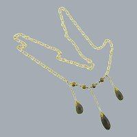 Vintage gold tone chain Necklace with smoky glass drops