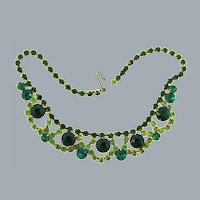 Vintage shades of green rhinestone 1950's choker Necklace