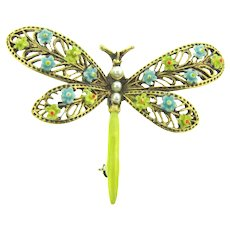 Signed ART figural dragonfly Brooch with imitation pearls and enamel flowers