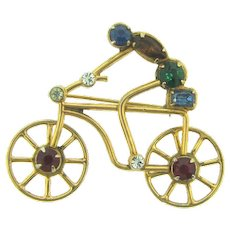 Vintage Rare 1940's mechanical Coro cyclist Brooch with rhinestones