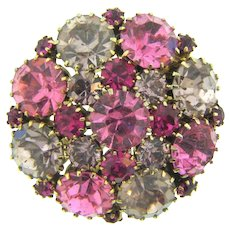 Signed Weiss vintage rhinestone Brooch in shades of pink and lavender