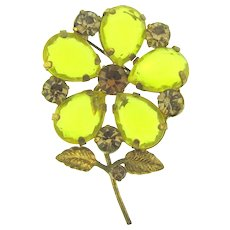 Marked Austria flower Brooch with yellow and topaz rhinestones