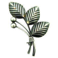 Signed N.E. FROM  sterling, Denmark floral leaf brooch with berries