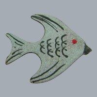 Vintage enamel on copper fish Brooch