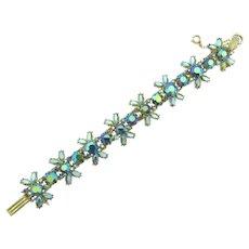 Vintage floral link Bracelet with blue AB rhinestones