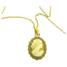 Marked 1/20 12K gold filled cameo pendant Necklace