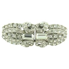 Vintage duette Brooch/Dress clips with brilliant crystal rhinestones