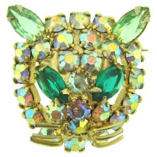 Vintage figural cat face Brooch with AB and green rhinestones
