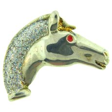 Vintage horse head silver tone Brooch with gold tone accents and a glittering mane