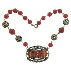 Vintage choker Necklace with  floral design pendant and carnelian glass beads