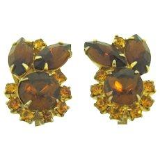 Vintage clip back rhinestone Earrings in topaz tones