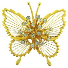 Signed Monet figural butterfly Brooch with crystal rhinestones