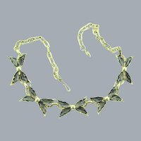 Vintage floral link choker Necklace with soft gray enamel petals