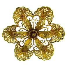 Signed Topazio, Portugal 925 silver vermeil filigree flower Brooch