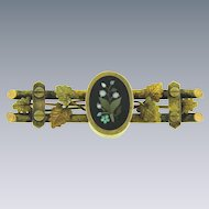 Early gold filled Bar Pin with oval Pietra Dura Mosaic