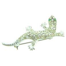 Vintage figural lizard Brooch with crystal rhinestones and green eyes