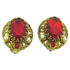 Marked W.Germany filigree clip back Earrings with red rhinestones and imitation pearls