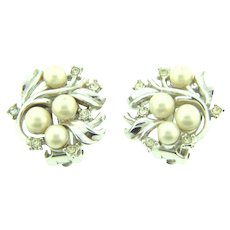Marked Crown Trifari silver tone clip back Earrings with crystal rhinestones and imitation pearls