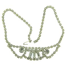 Vintage 1950's crystal rhinestone festoon choker Necklace