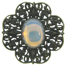 Vintage dark silver tone floral Brooch with opalescent stone