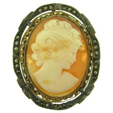 Vintage shell cameo Brooch in 800 silver frame with marcasites