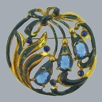 Vintage 1940's circular Brooch with blue enamel and rhinestones