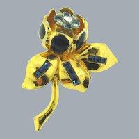 Signed Coro floral trembler Fur Clip