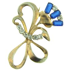 Marked sterling 1940's floral Brooch with blue and crystal rhinestones