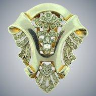 Vintage Art Deco 1930's Dress Clip with crystal rhinestones