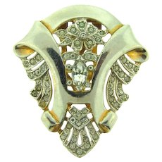 Vintage Art Deco 1930's Dress Clip with crystal rhinestones