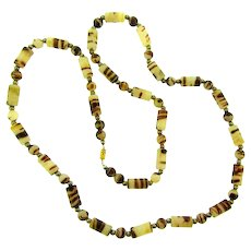 Vintage brown striped Lucite and silver tone beaded Necklace