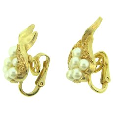 Signed Crown Trifari gold tone clip back Earrings with imitation pearls