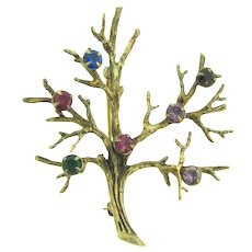 Marked Sterling vermeil tree of life Brooch with rhinestones