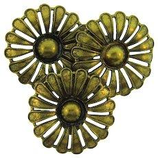 Vintage dark gold tone trio of flowers Dress Clip