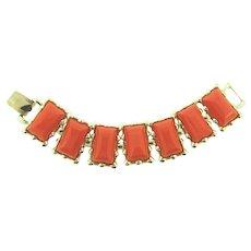 Signed Coro light gold tone link Bracelet with tangerine thermoset blocks