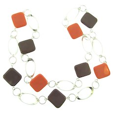 Vintage mod 1970's silver tone Necklace with brown and orange plastic tiles