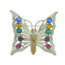 Vintage massive 1940's pot metal figural butterfly Brooch with rhinestones