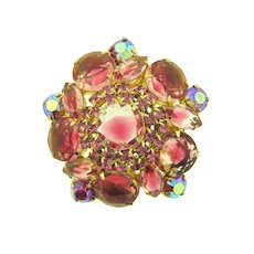 Vintage 1960's domed rhinestone Brooch in pink shades