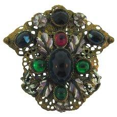 Vintage floral enamel designed Dress Clip with multicolored cabochons