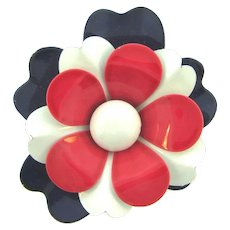 Vintage metal flower Brooch with red,white and blue enamel