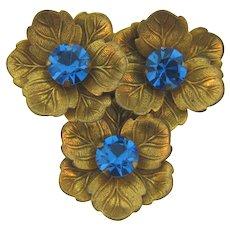 Vintage 1940's floral Dress Clip with blue rhinestones
