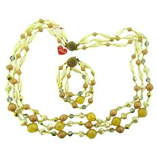 Vintage triple strand beaded Necklace and bracelet with original Milada hang tag