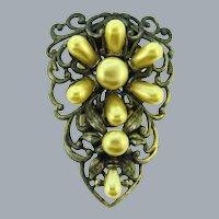 Vintage floral design pot metal with imitation pearls