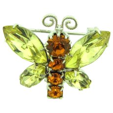 Signed Tarina Tarantino figural butterfly Scatter Pin with citrine and topaz rhinestones