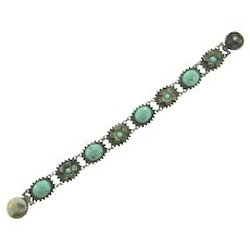 Vintage link silver tone Bracelet with mottled turquoise glass cabochons and turquoise colored beads