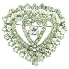 Vintage heart shaped large all crystal rhinestone Brooch