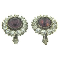 Vintage clip back Earrings with crystal and purple paste stones