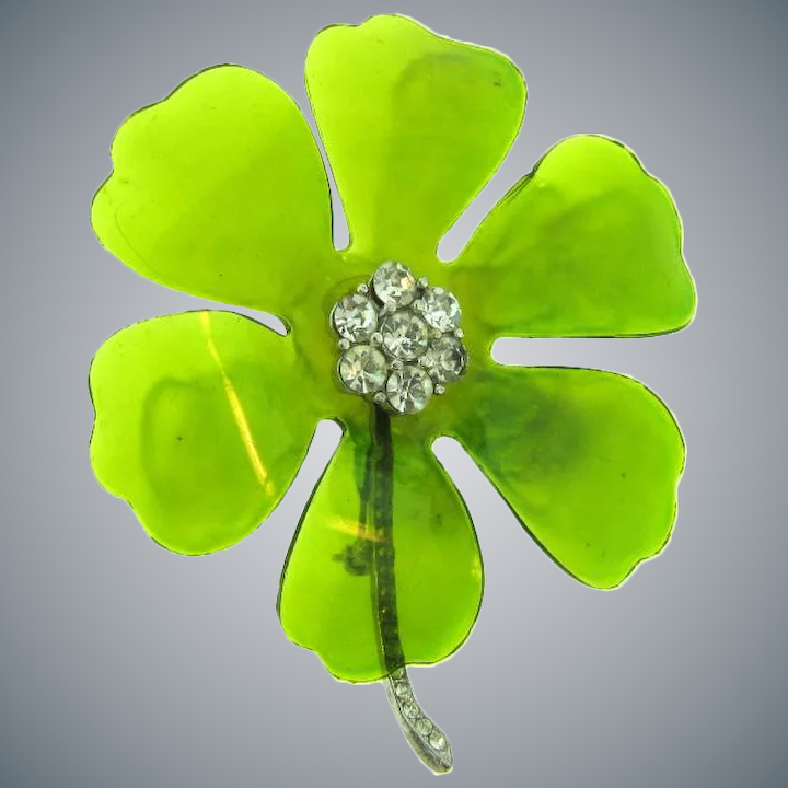 Vintage Cellophane Lucite Green And Crystal Rhinestone Flower Brooch